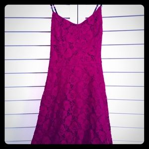 Xhilaration Magenta Lace Midi Dress